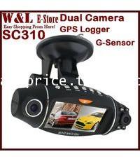 กล้องติดรถยนต์ SC310 2 เลนส์ พร้อมGPS ดูผ่าน GoogleMap   จอ 2.7\quot;