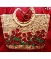 กระเป๋าผักตบสาน สานดอกกุหลาบแดง