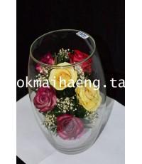 ดอกกุหลาบหลากสีในทรงรี(Rose)