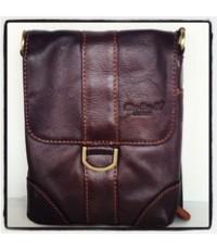 กระเป๋าสะพายหนังแท้ใบกระทัดรัดรุ่นฝาหน้าห่วงเหลี่ยม