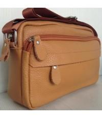 กระเป๋าสะพายหนังแท้แนวนอนยาวสีน้ำตาลเหลืองขนาดใส่ ipad -mini
