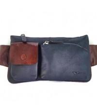 กระเป๋าคาดเอวหนังแท้กระเป๋า2ข้างสีน้ำเงิน