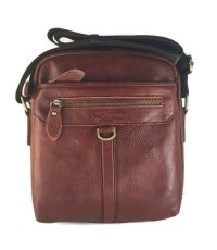 กระเป๋าสะพายหนังแท้ห่วงหน้าสีน้ำตาลแดงก