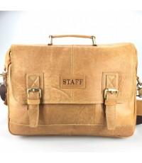 กระเป๋าสะพายหนังแท้เอกสารA4สีแทนเข็มขัดคู่