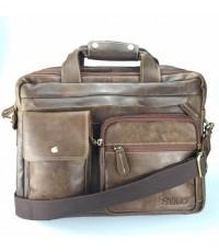 กระเป๋าสะพายหนังวัวแท้เอกสารA4ซิปคู่ใหญ่2ชั้นสีน้ำตาลเงา2กระเป๋า