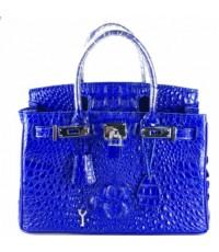 กระเป๋าสะพายหนังจระเข้แท้จระเข้แท้ Hermes (M) น้ำเงิน