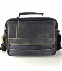 กระเป๋าสะพายหนังแท้หูจับนอนดำipad2-3