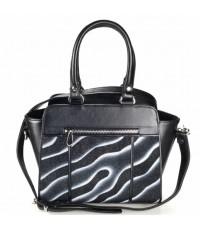 กระเป๋าหนังกระเบนแท้2หูสะพายยาวริ้วดำ