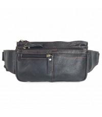 กระเป๋าหนังวัวแท้สะพายหน้าอกสีดำ