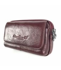 กระเป๋าหนังแท้ร้อยเข็มขัดรุ่นจัมโบ้สีแดง