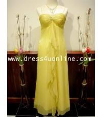 ชุดราตรี ยาวสีเหลืองทอง เรียบหรู น่ารัก