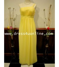ชุดราตรี สีเหลือง ใช้ผ้าชีฟอง สวยเก๋