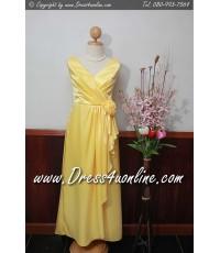 ชุดราตรี ยาว สีเหลืองสดใส แต่งกุหลาบคาดเอว คอลึก