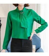 dressuphouse รหัส D323greenS เสื้อแฟชั่น คอปิด แขนยาว แต่งประดับที่คอ สีเขียว