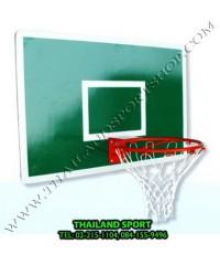 แป้นบาสเกตบอล รุ่น ไม้เนื้อแข็ง สีเขียว หนา 20 mm.(จำนวน 1 ชุด 1 แป้น, 1 ห่วง, 1 ตาข่าย) k n