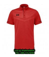 เสื้อโปโลกีฬา polo วอริกซ์ warrix รุ่น wa-3318 (สีแดง-ดำ ra ) ทอลาย