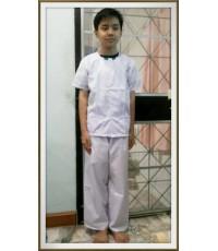 ชุดขาว ชุดปฏิบัติธรรมเด็ก รัตนาภรณ์ ขนาดเบอร์ 8 (ความสูง/น.น.ของเด็ก ไม่เกิน 135cm/30kg)