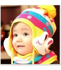 หมวกกิมจิ หูกระต่าย (หมวก + ผ้าพันคอ)