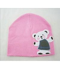 หมวกแร๊ป คุณหมี (สีชมพู) หมวกเด็กเกาหลี น่ารักๆ