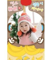 หมวกแคชเมียร์ ผ้าขนสัตว์เกาหลี สีชมพู เนื้อหนา ใส่แล้วอุ่นค่ะ