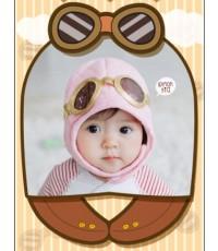 หมวกนักบินรุ่นเยาว์ ทรงหมวกเกาหลี (สีชมพู)