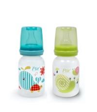 ขวดนมทรงตรง (Feeding Bottle Pur) ขนาด 4 ออนซ์ พร้อมจุกนมคลาสสิค ขนาดเล็ก (Slow Flow) ยี่ห้อ Pur