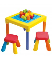 โต๊ะกิจกรรมบล๊อคใหญ่ พร้อมเก้าอี้ 2 ตัว My Play Table with Chair ยี่ห้อ PLAYGO