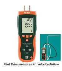 เครื่องความเร็วลม วัดความดัน Pressure, Air Velocity, Air Flow, Temperature Meter รุ่น HD350