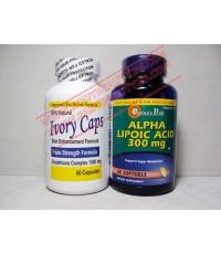 Ivory Caps 1500 mg Glutathione Complex 60 Caps คู่ Alpha Lipoic acid 300mg 60 SoftGels