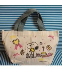 กระเป๋าถือ ผ้า ลาย สนู๊ปปี้ (SNoopy) ขนาด 12x7.5 นิ้ว