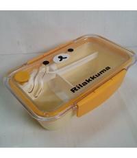 กล่องข้าว พร้อมช้อน ขนาด 7.5x4.5x2.5 นิ้ว ลาย รีลัคคุมะ rilakkuma
