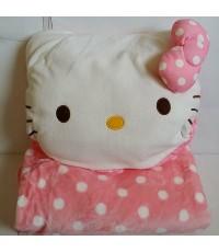 หมอนผ้าห่ม คิตตี้ Kitty ใช้เป็นหมอนหนุน หมอนอิง หมอนซุกมือ หรือผ้าห่มได้ เหมาะสำหรับพกพา ด้านในเป็นผ