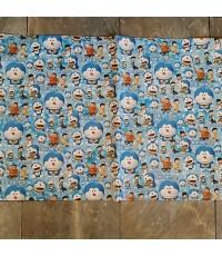 กระดาษห่อของขวัญ ลาย Doraemon โดเรม่อน ขนาด 30x20.5 นิ้ว แพ็คละ 10 แผ่นคะ