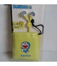 หูฟัง พร้อม ถุงหูรูด ทำจากหนัง สำหรับเก็บหูฟัง ลาย โดเรม่อน Doraemon