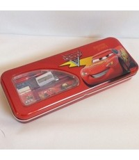 set เครื่องเขียน Car Mcqueen คาร์ มีกล่องดินสอเหล็กขนาด 8*3นิ้ว พร้อม ไม้บรรทัด ยางลบ กบเหลา ดินสอ 1
