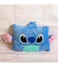 หมอนผ้าห่ม สติช (Stitch) ใช้เป็นหมอนหนุน หมอนอิง หรือผ้าห่มได้ เหมาะสำหรับพกพา ด้านในเป็นผ้าสำลี ขนา