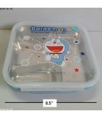 กล่องข้าว แบบ ถาดหลุม สแตนเลส ขนาด 8.5x8.5 นิ้ว ลาย โดเรม่อน Doraemon