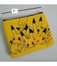 ซองซิป ใส่เหรียญ ใส่บัตร ลาย ปีกาจู pikachu โปเกม่อน pokemon ขนาด 5x4 นิ้ว