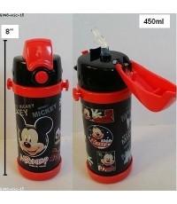 กระติกเก็บร้อน เย็น ลาย Mickey mouse มิกกี้เม้าส์ มีหลอดในตัว สูง 8 นิ้ว