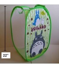 ตะกร้าผ้า ถังผ้าตาข่าย พับได้ ไว้ใส่ตุ๊กตา เสื้อผ้า ได้ค่ะ สูง 22 นิ้ว ลาย โตโตโร่ (Totoro)