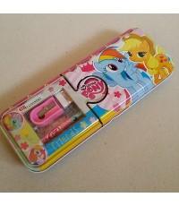 set เครื่องเขียน พร้อมกล่องดินสอเหล็ก ลาย ม้าน้อย โพนี่ (My Little Pony) ประกอบด้วย 1.กล่องดินสอเหล็
