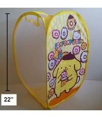 ตะกร้าผ้า ถังผ้าตาข่าย พับได้ ไว้ใส่ตุ๊กตา เสื้อผ้า ได้ค่ะ สูง 22 นิ้ว ลาย ปอมปอมบุริน Pompompurin