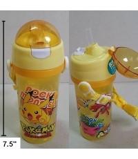 กระติกน้ำ BPA Free ลาย ปีกาจู pikachu โปเกม่อน pokemon มีหลอดในตัว ถอดสายได้ ขนาดสูง 7.5 นิ้ว