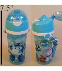 กระติกน้ำ BPA Free ลาย โรโบคาร์ Robocar Poli มีหลอดในตัว ถอดสายได้ ขนาดสูง 7.5 นิ้ว