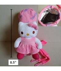 ถุงใส่ ขวดน้ำ กระติกน้ำ ตุ๊กตา ลาย คิตตี้ Kitty ด้านในบุฟลอย มีสายสะพายให้ค่ะ ขนาดสูง 8.5 เส้นผ่าศูน