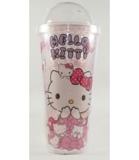 กระบอกน้ำฝาโดม Kitty มีที่ใส่หลอดสำหรับใส่เครื่องดื่มเย็นๆ ชา กาแฟ นม