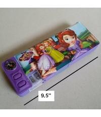 กล่องดินสอแม่เหล็กเปิดได้ 2 ด้าน มีเหลากบในตัว เจ้าหญิง โซเฟีย Sofia Princess ขนาด 9.5x3.5 นิ้ว