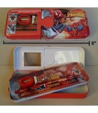 set เครื่องเขียน พร้อมกล่องดินสอเหล็ก ลาย Spiderman สไปเดอร์แมน ประกอบด้วย 1.กล่องดินสอเหล็กขนาด 8*3