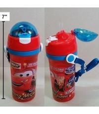 กระติกน้ำ BPA Free ลาย คาร์ แม็คควีน Car Mcqueen มีหลอดในตัว ถอดสายได้ ขนาดสูง 7.5 นิ้ว