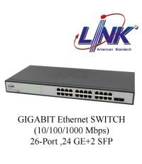 LINK GIGABIT Ethernet SWITCH (10/100/1000 Mbps) 26-Port, 24 GE+2 SFP Model. PG-2126
